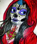 Red Hooded Sugar Skull Girl by Caylyngasm