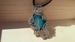 Handmade Silver Wire Wrapped Blue Agate Necklace by TheTwistedIngot