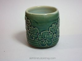 Celadon Blossoms Tea Cup by skimlines