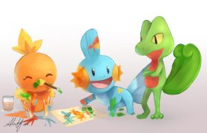 Hoenn Starters by Chyal
