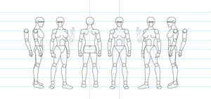 Figure Drawing Turnaround Template - Female by tamm3r