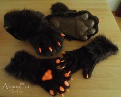 Nightfirer Foot- and Handpaws comission by AtmosFur