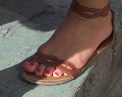 Catching Shade in Brown Leather Flat Sandals by Feetatjoes
