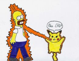 Homer shocked by a Pokemon by DJgames