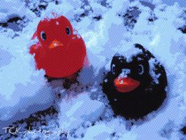 Two little duckies are just chillin' in the snow. by ASFmaggot