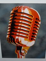 50s microphone orange by Stencilart101