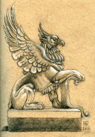 Stone Griffin by flamepointiger