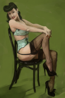 Green Pinup by mollygrue