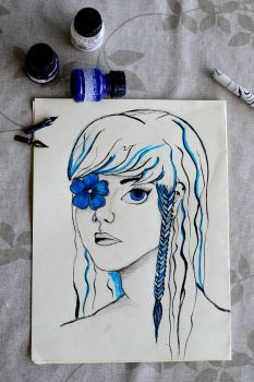 Blue Flowergirl by cartoongirl1221