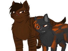 Tigerstar and Tawnypaw (old and unfinished) by CascadingSerenity
