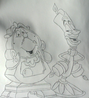 Lumiere and Cogsworth by Sapphire-Rose15
