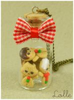 Fimo Gingerbread man Bottle by LolleBijoux