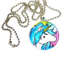 Hand Drawn Rainbow Unicorn Pendant by PinkChocolate14