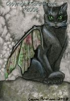 Winged Black Cat Fairy ACEO by candcfantasyart