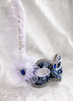 Blue Brocade Masquerade Mask With Plume by DaraGallery