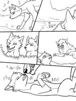 Free Comic lineart Wolves Harass Fox by The-Crow-Faced-Wolf