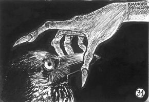 Inktober day 31: The petrified raven... by dreamsaddict