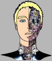 Caucasian Cyborg Cartoon Me by electropencil