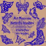 art nouveau butterflies by rL-Brushes