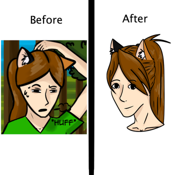 before an after hair style by oOEyedragonOo
