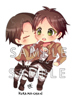 -- SnK: Chibi Eren and Rivaille couple -- by Kurama-chan