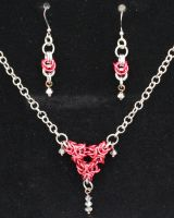 Red Inverted Triangle Necklace Set by SerenFey