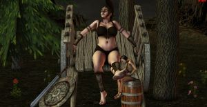 The Amazon Warrior and her little Retainer by DrCreep