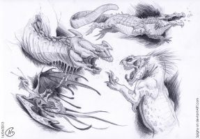 Random creatures sketches by Spighy
