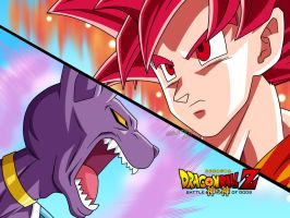 Dragon Ball Z battle of gods - Goku ssjg vs bills by Bejitsu