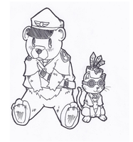 Soldier Bear and Engie Cat by Graveluck