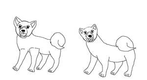Two Akitas lineart 1 by YamiKariShadow6
