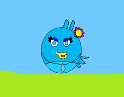 Ice Bird wearing eye shadow and flower by Sparkledoll2