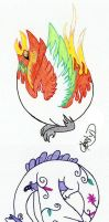 Lugia and Ho-oh by crmsndragonwngs