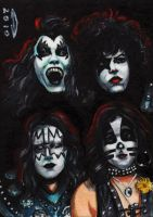 KISS 1974 SKETCH CARD ACEO by AHochrein2010