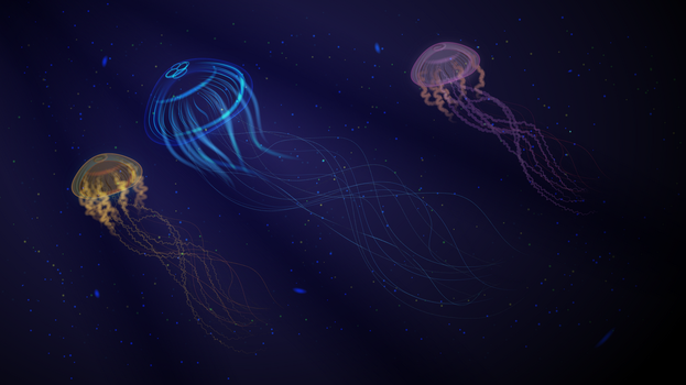 Jellyfishes in the ocean Wallpaper by ManapointSan