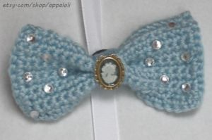 Appaloli: Pretty Blue w Silver Cameo Crochet Bow by Appaloli