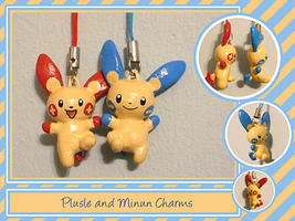 Plusle and Minun Charms by Auswren