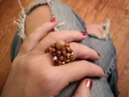 Wood Bead Stretchy Ring by EllasDesigns
