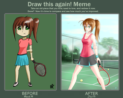 Drawn Again 6 (Tennis Girl) by budgiesarecool