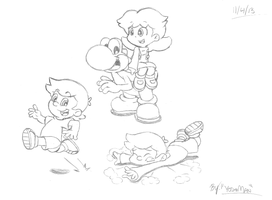 Yoshi and the kids- Commission by YoshiMan1118