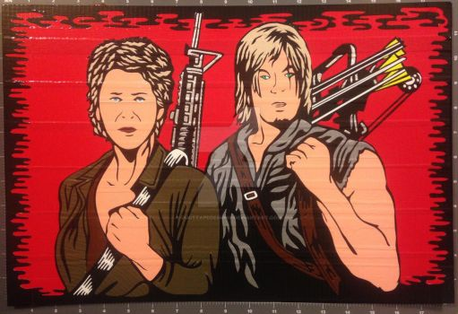 Daryl  Carol Duct Tape Art by DuctTapeDesigns