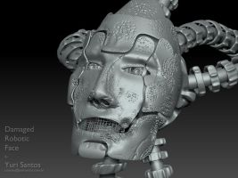 Damaged Robotic face by Kratos-YMVS