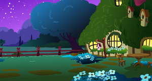 Fluttershy's Cottage Exterior (night) by DaringDashie