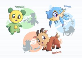 Some Region Fakemon #001 #004 #007 - Starters by grimarionette