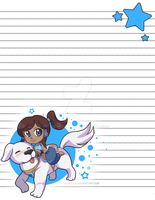 Korra and Naga Stationary- Download Available by michielynn