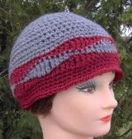 Maroon Waves Hat - Adult Size by ChezMichelle