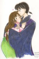 Miroku and Sango hug by SuperKACHIKA