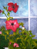 petunias in front of window by JessicaSoulier