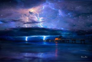 Lightning into the sea by VinceArt01