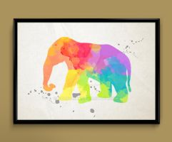 elephant watercolor print by ColourInk